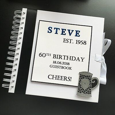 Personalised Male Guestbook Birthday 18th 21st 30th 40th 50th *multiple colours*