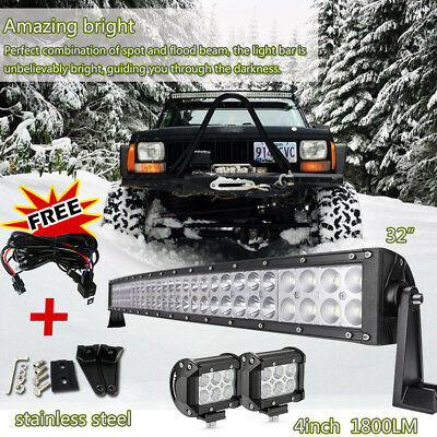 """32inch Curved LED Light Bar+ 2pcs 4inch Cree Work Offroad Truck Jeep SUV 30""""/34"""""""