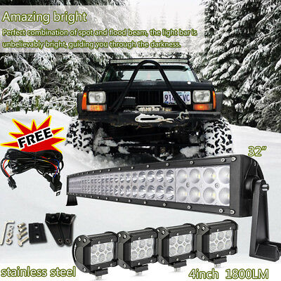 """32inch Curved Led Light bar +4X 4"""" CREE Work Pods Offroad Ford Jeep SUV Truck 30"""
