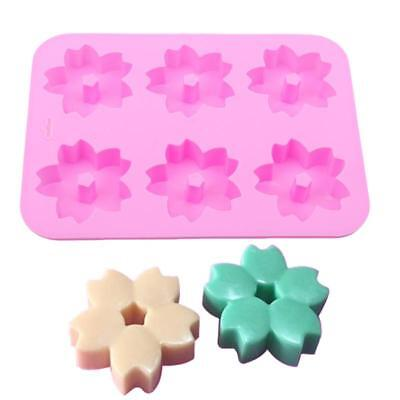 Silicone 6Cavity Muffin Cupcake Cherry Blossom Bakeware Pan Tray Baking Mould N7