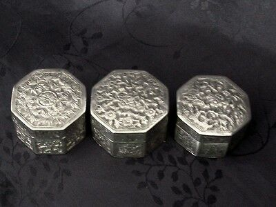Solid Silver China Box Chinese Export Silver 3 Box Dragon Pilullier