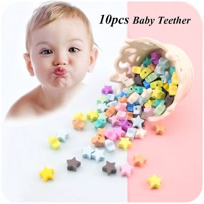 10pcs/lot 14mm Star Chew Beads Baby Teether Mom DIY Necklace BPA-Free Silicone