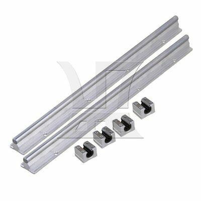 2 Set Silver 10mm Shaft 40cm Linear Bearing Rail w/ Open Linear Motion Block