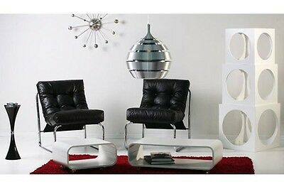Armchair lounge design 70's white black padded armchair sessel white black