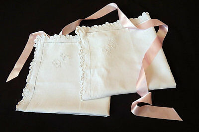 Vintage French Pillow Cases Pair of Euro Shams Finest Linen with Hand Embroidery