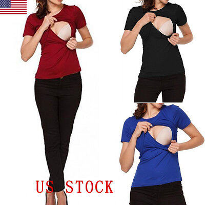 New Women T-Shirt Lactation Breastfeeding Maternity Nursing For Pregnant Blouse