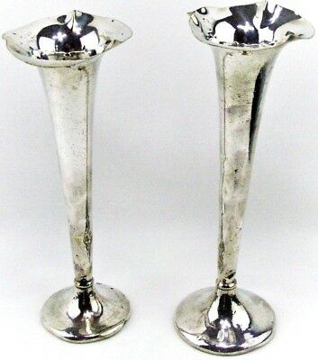 Antique Charles Green & Co  c1907 EP Silver Tall Fluted Trumpet Vases