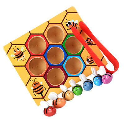 Kids Intellectual Wooden Clip Bee Out Box Baby Toddler Early Learning Toys