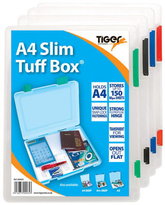 A4 Slim Tuff Storage Box Strong Clear Transparent Papers Documents Stationery