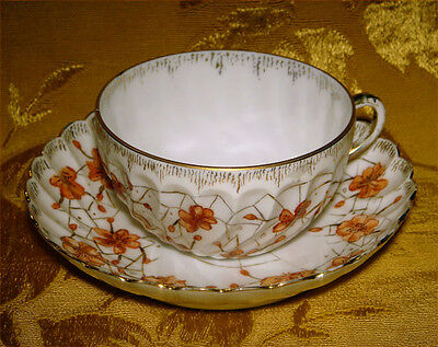 ANTIQUE HERMANN OHME c.1882-1900 SWIRL CUP & SAUCER FLORAL SPIDER WEB GERMANY