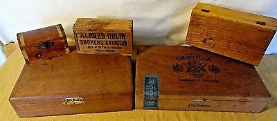 Alfred Orlik (Cigar Shop)Smokers Articles And 4 Wooden Boxes-Varying Conditions