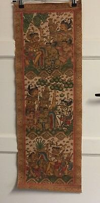 Traditional Old Balinese Kamasan Painting on Cotton Canvas