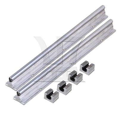 2 Set Silver 10mm Shaft 30cm Linear Bearing Rail w/ Open Linear Motion Slide