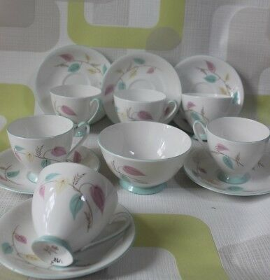 1950s royal standard bone china tea cups, 6, saucers 6 and  bowl. pink, yellow