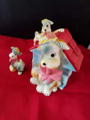 "Vintage Unique Colorful Ceramic Dogs & Dog House Ceramic Coin Money Bank 6""H"