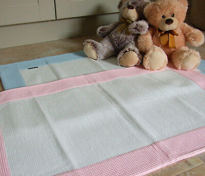 Nursery Rugs White with Pink or Blue Waffle Cotton Border in 2 sizes