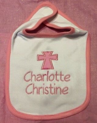 Personalized customized christening pink baby bib religious gift personalized christening baby bib with name religious gift cross customized negle Image collections