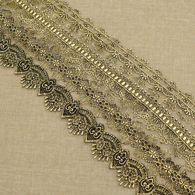 Handwork Gold Lace Trim Embroidery Beauty Dress Clothing Decoration Sewing DIY