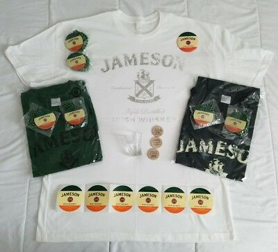New JAMESON Irish WHISKEY Mens XL T-Shirts SHOT GLASS Tokens STICKERS Button LOT