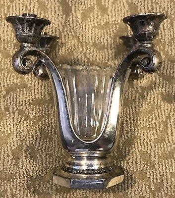 c1900-37 Christofle Silver Plated 4 Light Candle Holder Glass Bowl Centerpiece