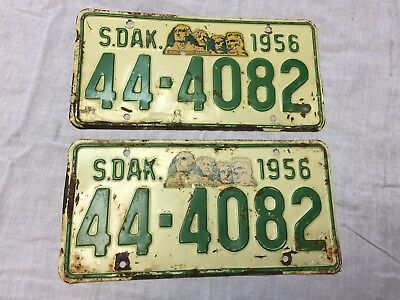 1956 Matched pair Lincoln County South Dakota  license plates