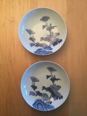 Beautiful Pair of Vintage Japanese Nabeshima blue Porcelain Footed Bowls
