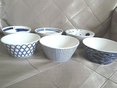 """Royal Doulton Pacific Tapas Bowls Fruit Cereal 4 1/2"""" Navy & White Set of 6"""