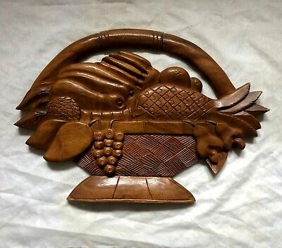 Antique Vintage Carved FRUITS in BASKET Wooden Plaque Wall Hanging - Nice!!!