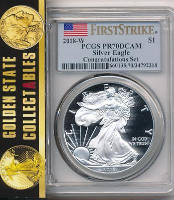 2018 W $1 Proof Silver Eagle Congratulations Set Pcgs Pr70 First Strike Pop 550