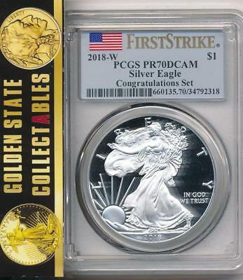 2018 W $1 Proof Silver Eagle Congratulations Set Pcgs Pr70 First Strike Flag Lbl