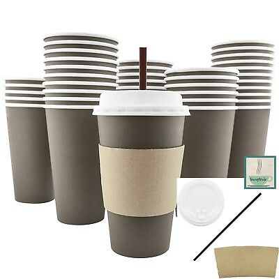 100 Ct 16 Oz Disposable Paper Coffee Tea Cups w Lids Sleeves AND Stirring Straws