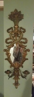 Antique Italian  Wall Sconce Carved Wood Gold Gilt W/ Mirror & 2 Metal Candle