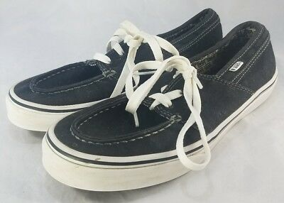 157fe72c8f BOYS VANS OFF THE WALL Black Canvas Boat Shoes Loafers Lace Up size 6 Youth