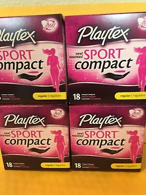 144 BN Playtex Sport Compact Unscented Tampons, Regular(8 boxes of 18 ct each)