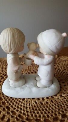 Precious Moments Porcelain Figurine Christmastime is for Sharing 1982