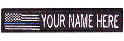 Thin Blue Line USA Flag Custom Embroidered Name / Text Tag Patch
