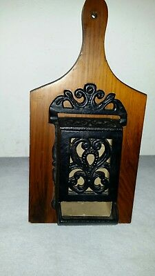 Vintage Ornate Cast Iron Wall Mount Match Stick Holder with Lid Mounted on Wood
