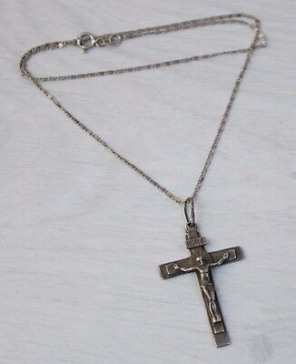 Vintage 925 STERLING SILVER Christ Crucifixion INRI Pendant Cross with Necklace