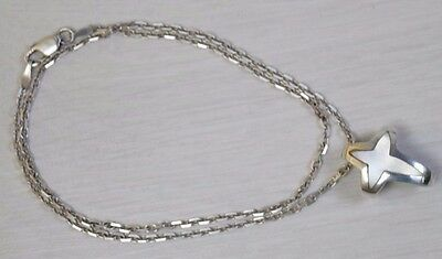 Vintage STERLING SILVER 925 Unisex Necklace Cross Pendant with Mother of Pearl
