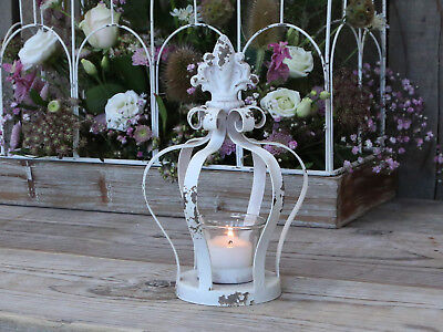 Chic Antique Lantern Crown Lily White Metal Country House Vintage Cottage Shabby