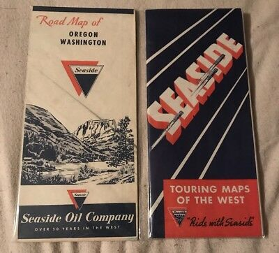 (2) Seaside Oil Company Gasoline Road Maps - Veedol Silverol Gull Gas Sign Can