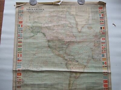 1906 Antique  Large School Map of World