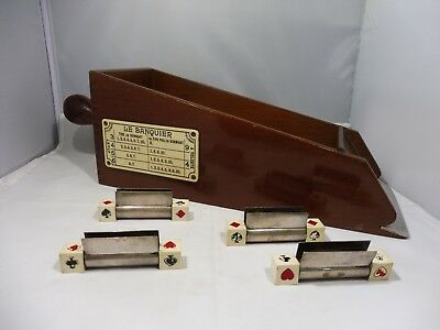 Antique French Brevet Francais Wood Gambling Shoe With Card Holders