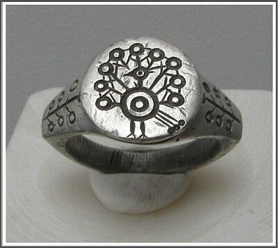 **IRON AGE** Ancient Legionary Silver CELTIC Ring 800–450 BC **PEACOCK**