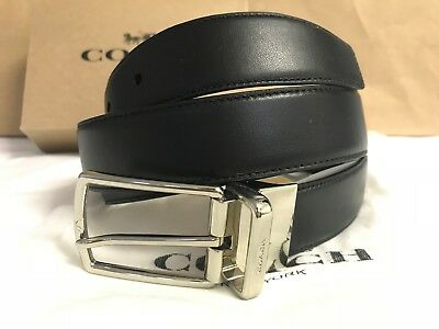 NWT Men's Coach F64824 Modern Harness CTS Reversible Belt Black / Brown / SIlver
