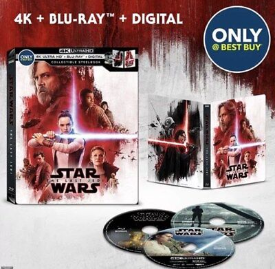 NEW Star Wars: The Last Jedi 4K UHD Blu Ray Steelbook + Blu Ray + Digital Copy