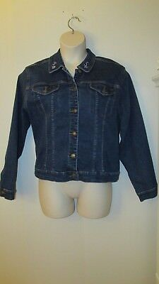 Disney X-Large Embroidered Tinker Bell Jean Jacket Dark Wash