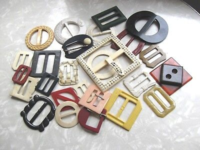 Lot of 26 Antique Vintage Asst Belt Buckles Bakelite Plastic Sewing Crafts