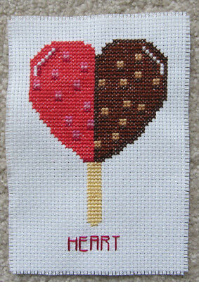 HEART cross STITCH X ice CREAM chocolate STRAWBERRY food ART sew CRAFT piece