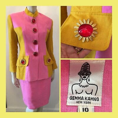 Vintage 1990s GEMMA KAHNG pink and yellow BLAZER & SKIRT Suit Sz 10